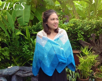 Stunning Handmade Blue and White Zigzag Crochet Shawl, Made to Order Afghan Poncho, wrap, scarf, organic 100 percent soft cotton yarn
