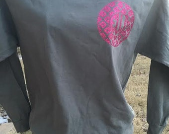 Long Sleeve tee with ikat pocket sized vinyl glitter monogram
