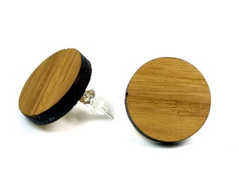 Oak wood earrings / wood jewelry with Sterling Silver 925 earrings | Nature jewelry