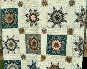 "Blazing Star Quilt,Vibrant Blues and Browns! Late 1800's in Great Used Condition , size 78""L x 66""W"