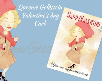 Queenie Goldstein Happy Valentine's day Cards. digital download. 1 jpeg. high resolution. Fantastic Beasts and where to find them.