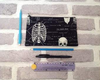anatomy pencil case, school supplies, skeleton pencil case, back to school, glow in the dark, skull pencil case, gift for her, gift for him
