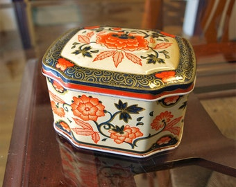 Vintage Decorative Floral Tin Made in England – Blue, Orange and Gold Tin Canister