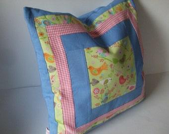 Pillow case pillowcase patchwork yellow blue gift for children