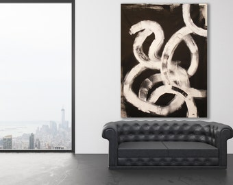 XL Black and White Abstract Painting with Texture / Modern Art / Contemporary Art / Minimalist Painting / Black and White Art