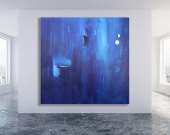XL Blue Abstract Painting / Original Art / Modern Art / Contemporary Art / Blue Painting / Blue Square Painting / Large Blue Painting