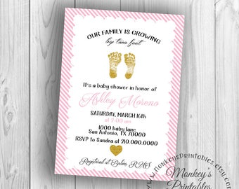 Baby Shower Invitation, Two Feet, Pink and Gold Baby Shower Invitation, DIY Invite, Printable Invitation, Baby Girl Shower Invitation