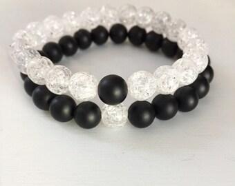 Bracelets for Couples, Couples  Bracelet, His and Her Bracelets, Yin Yang Bracelet, Relationships Bracelets, Onyx Bracelet