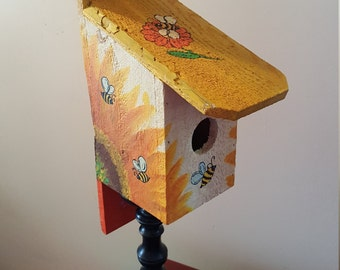 Sunflower and bees Birdhouse