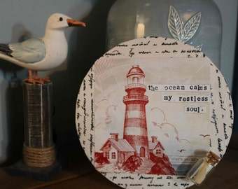 Nautical Seaside Wooden Plaque Quote