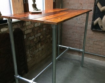 Standing Desk from reclaimed wood with galvanised steel base, made to measure, standing or 'normal' height, looks stunning