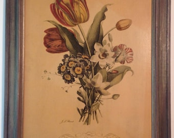 Vintage framed dry mounted lithograph of bouquet of tulips, primula, carnation, narcissus hand carved wood frame