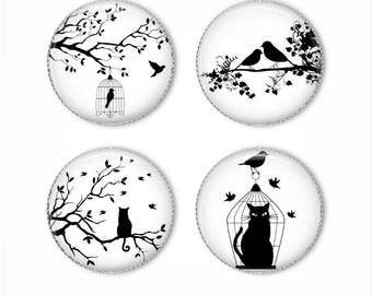 Bird and cat magnets or bird and cat pins, silhouette, black and white, refrigerator magnets, fridge magnets, office magnets