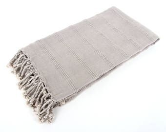 SALE 30%OFF! Stone Washed Light Gray Turkish Towel - For Beach, Bath and Yoga
