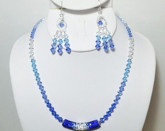 Crystal Blues Necklace and Earrings