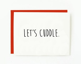 Let's Cuddle. Valentines Day. PRINTABLE. Cute. Valentines Day Card. Cuddle Valentine. Printable Valentine. INSTANT DOWNLOAD. 4x6""