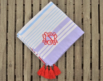 Monogrammed Throw, Monogrammed Blanket, Throw Blanket, Monogrammed Cotton Blanket, Tassel Blanket