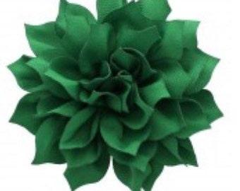 "3.5"" Emerald Green Hair Flower Clip | Boutique Bow | Hair Bows | Headband | Girls | Baby"