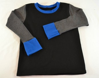 Boys Colorblock T-Shirt in Cobalt blue, charcoal gray and black