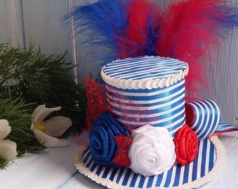 Labor Day Hat Headband Labor Hat Fascinator Hat Mad Hatter Hat Tea Party Hat Alice in Wonderland Top Hat Red Blue White Hat Baby Shower