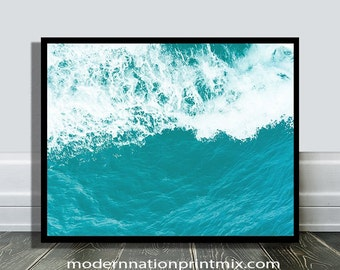 Beach Print, Waves Photo , Coastal Poster Art,  Aqua Waves Gift, Ocean Water Print,Coastal Wall Art, Printable Art,Sea Printable Art