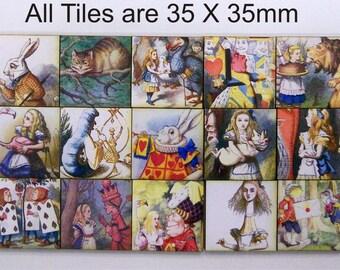 Alice in Wonderland Craft Tiles ( 15 X tiles)