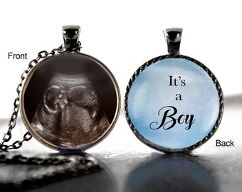 Sonogram Necklace, Baby Ultrasound, Necklace, It's a boy, Birth, Personalized, Pendant, Double Sided, Custom Ultrasound, Sonogram Jewelry