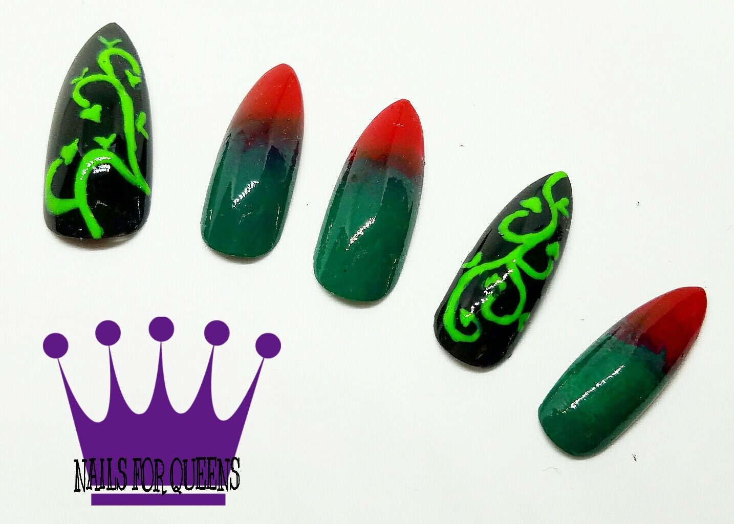 Handpainted poison ivy long stiletto press on nails poison ivy sold by nailsforqueensnyc prinsesfo Image collections