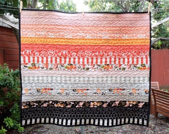 Modern Pink and Red Floral Striped Baby Blanket / Lap Quilt