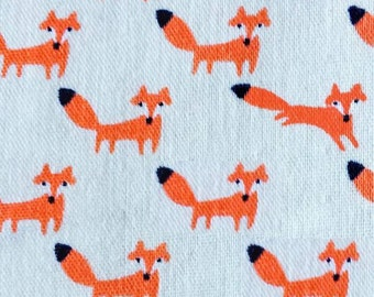 Fox Fabric | Double Gauze | Soft Material | Cute Baby Fabric | Baby Blanket | Kokka Japanese Import | White | Small Fox Print | Animal