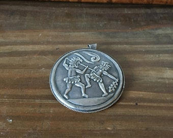 Taxco Mexican Sterling Silver Brooch or Pendant with Warriors in Battle