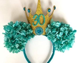 Birthday Crown Floral Minnie Ears