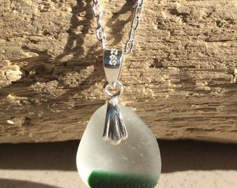 Rare, green and white multicoloured Seaham sea glass pendant necklace with sterling silver chain, Mother's Day gifts, gifts for her