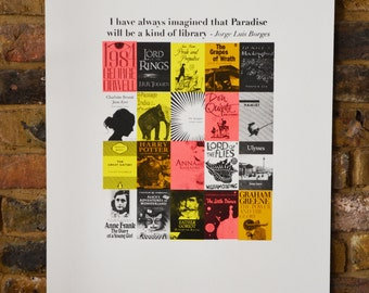 Paradise is a Library - hand made screenprint