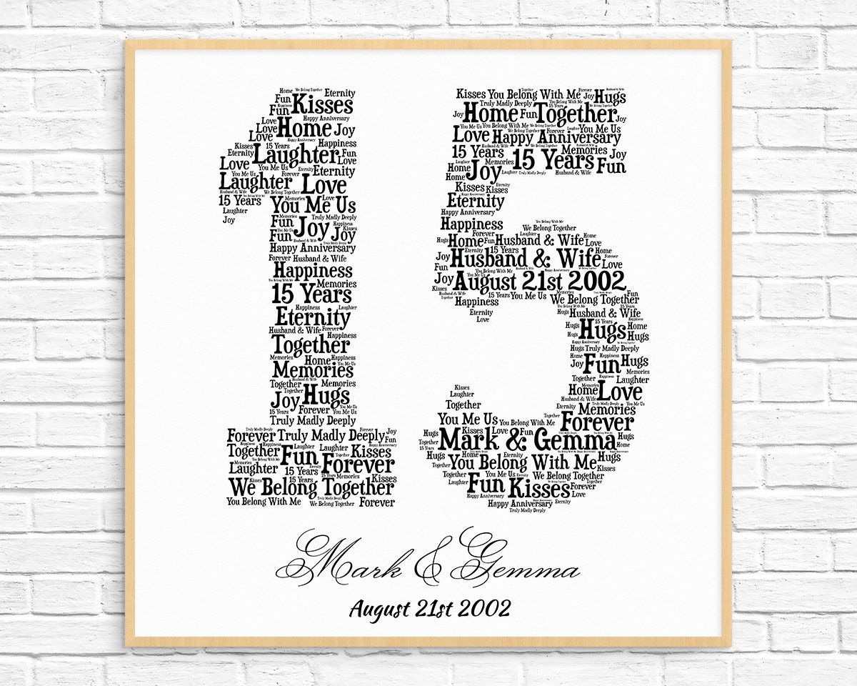 PERSONALIZED 15TH ANNIVERSARY Gift Word Art Printable