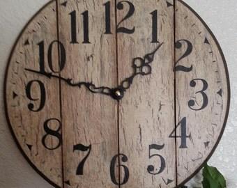12 Inch Shabby Chic Shiplap-look Clock