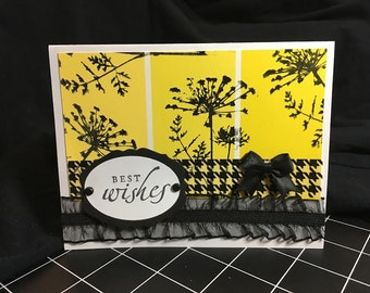 Handmade Stamped Best Wishes Greeting Card