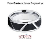 Two-tone Brushed Black IP Trapezoids & High Polished Outlines 8mm Tungsten Carbide Wedding Ring