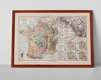 Old Map of France | Reproduction Print of Antique French Map; Regions, agricolés, lignes de culture, produits du so