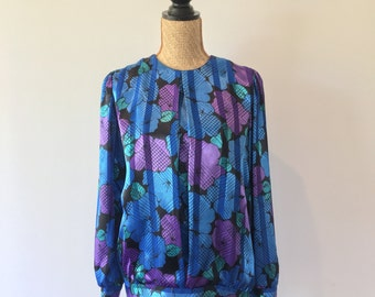 Retro Purple & Blue Satin Pleated Blouse with Tie Up Side