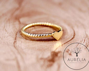 """18 K gold plated ring """"Heart"""" turned"""