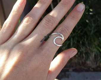 Made to order Hammered sterling silver wave ring