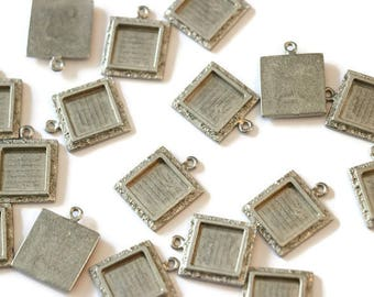 Medium pewter piece square pendant textured for making jewelry LoB-105 (20 pieces)