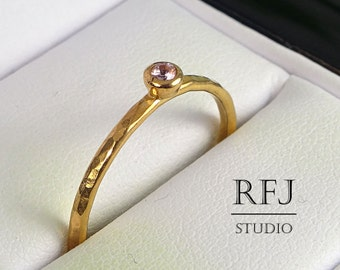 Rose Gold Natural Pink Tourmaline Hammered Ring, 14K Gold Plated 2 mm October Gemstone Round Cut Ring, Stacking Tourmaline Rose Gold Ring