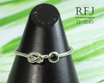 Natural Smoky Quartz Knot Ring, Smokey Quartz Frienship Knotted Ring Sterling Silver 2 mm Round Cut Smoky Quartz Tie The Knot Ring Love Ring