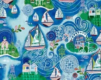 "Sailboat Fabric, Cartoon Fabric: Quilting Treasures Dream Boat - Sailboats, Village, Island 100% cotton Fabric by the yard 36""x43"" (C325)"