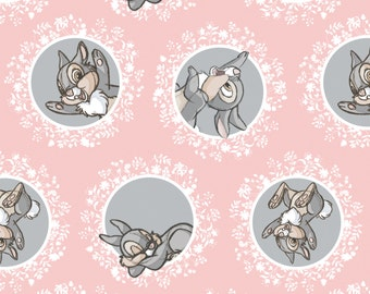 New Disney Bambi Fabric: Camelot Disney Bambi Forest Friend-Thumper Rabbit in Pink Rose Quartz 100% Cotton Fabric by the yard CA330