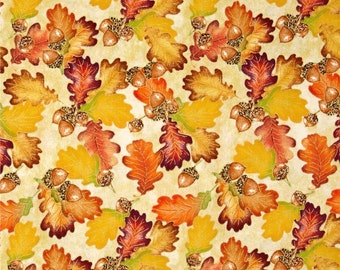 "Leaves Fabric: Harvest Bounty Acorn and Leaf Toss Dark Ecru Metallic by Quilting Treasures 100% cotton fabric by the yard 36""x43"" (N645)"