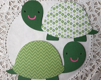 Turtle baby die cuts, Green Turtle, turtle cut outs baby shower decorations, invitations, card making, Favors, set of 2