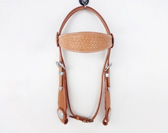 Western Silver Show Leather Cowboy Ranch Trail Bridle Headstall Horse Tack
